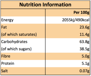 Fruit flapjack nutritional information